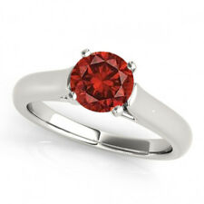 1 Ct Red Color Fancy Diamond I1 Solitaire Anniversary Ring Trendy 14k White Gold