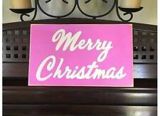 MERRY CHRISTMAS Sign PINK Chic Cottage Shabby Decor HP U-Pick Color Wood Plaque