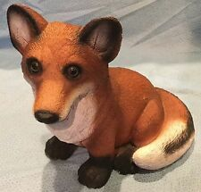 Large Resin Sitting Fox Figurine
