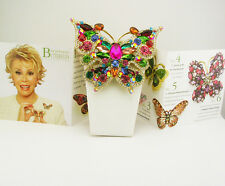 Joan Rivers Multi Crystal Butterfly Pin (comes w/box/pouch/romance card) BRIGHT