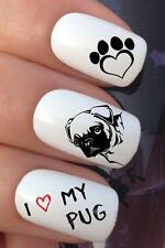 NAIL ART SET #691 x20 I LOVE MY PUG DOG LOVER WATER TRANSFERS DECALS STICKERS