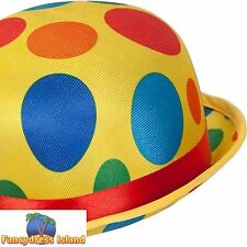 MULTI COLOUR CIRCUS CLOWN BOWLER HAT CLASSIC Adults Mens Ladies Fancy Dress