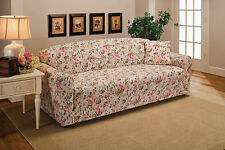 "CLEARANCE--PINK FLORAL COVERS FOR SOFA COUCH LOVESEAT CHAIR RECLINER-""STRETCHES"""