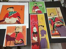 5 SIGNED ORIG. WATERCOLOR PAINTINGS, FEMALE WITH CAT- CHINESE ARTIST MUO TONG