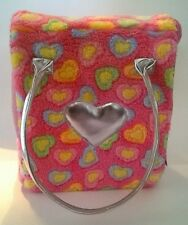 Pucci Pups Carrier w/ Pastel Hearts Soft Plush Exterior Silver Handles Puppy Dog