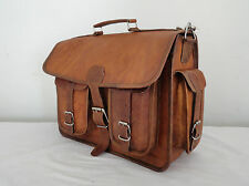 """Handmade Real Leather 15"""" MacBook Briefcase Laptop Satchel Attache Eco-Friendly"""