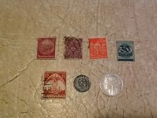 7 Swastika & Eagle Stamp Coin 1P 1940D NAZI France 1F 1945 Over print stamp lot