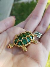 Vintage Designer Signed GERRY'S Faux Green Jade Turtle Tortoise Brooch Red Eyes