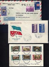TURKEY 1950's THREE COVERS 1 FDC 1 BANK COVER & EPHESUS CANCELS ON TOMB OF THE