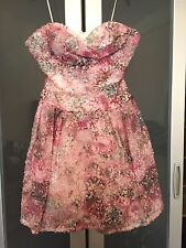 NWOT Notte By MARCHESA Pink Sequin Strapless Sweetheart Dress Fit N Flare Size 2