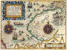 MAP ANTIQUE DE BRY VEER NOVA ZEMBLA NORTHEAST PASSAGE ART POSTER PRINT LV2101