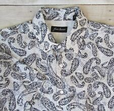 Jhane Barnes Large 100% Linen Short Sleeve Shirt Gray Paisley Mens Casual