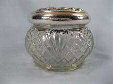 Avon Diamonds & Fans Small Glass Powder Jar With Metal Lid Empty Geometric (O)