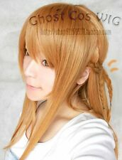 Hot! Sword Art online/asuna Largo Marrón Claro Recto Cosplay Peluca Xc #