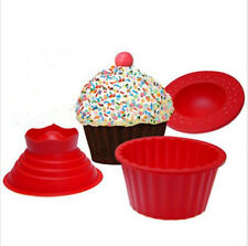 3Pcs Giant Big Silicone Cupcake Mould Mold Top Cake Muffin Bake Baking Party  GA