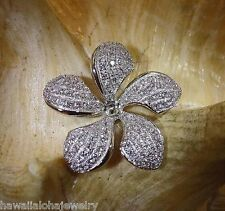 24MM RHODIUM PLATED ON SOLID STERLING SILVER HAWAIIAN PLUMERIA CZ SLIDE PENDANT