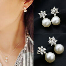 1Pair Korean Style Crystal Snowflake Pearl Stud Earrings Fashion Jewelry Gift
