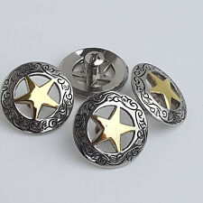 "Set of 4 1-1/8"" Silver Engraved Gold Star Concho W/ 1/4"" Screw Back"