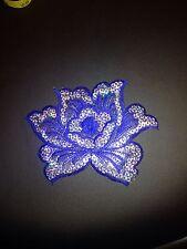 Blue flower sequin embroidery patch lace applique motif dress dance costume