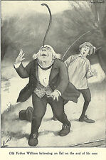 Alice in Wonderland Peter Newell Father William Eel 1901 Antique Print Matted