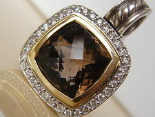 $1575 DAVID YURMAN 18K,SS ALBION SMOKY QUARTZ DIAMOND ENHANCER