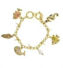 New Gold Tone Enamel Seahorse Whale Fish Shell Pearl Charm Bracelet