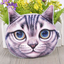 Womens Girls 3D Cat Big Face Shiny Eyes Coin Change Bags Purse Wallet Case Card