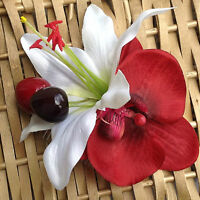 Rockabilly 50s Pin up Bridal Red orchid white lily hair flower comb fascinator