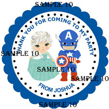 PRINCESS & SUPERHERO Stickers for party bags/Sweet Cones My/Our Party, Rf 01-10