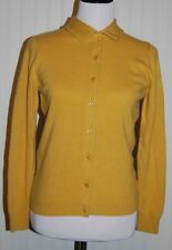 Vtg Ballantyne Women's Euro 36 100% Cashmere L/S Button Gold Cardigan Sweater