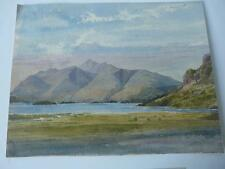 good antique unframed watercolour gouache painting derwentwater lake district
