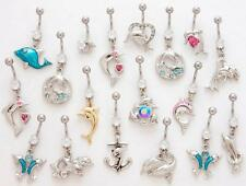 12 - Dolphin Style Mix Stainless Steel Dangle Belly Button Ring Naval BY15