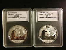 2 X 2011 China 1 Troy Oz .999 Fine Silver Panda 10 Yuan Face Value Gem Condition