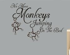 NO JUMPING ON BED MONKEYS Wall Sticker Removable BABY Vinyl Art kids Decal DIY