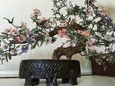 19c ANTIQUE CHINESE JADE BONSAI TREE COLORFUL BLOSSOMS DARK BROWN LACQUER PLANTR