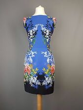 Oasis dress blue mirrored floral short tunic shift size UK 6