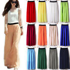 AS Women Double Layer Chiffon Pleated Retro Long Maxi Dress Elastic Waist Skirt
