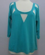 BNWT womens Cache Cache turquoise green top, scoop neck ½ length sleeves, large