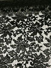 Black Beyonce Floral Fashion With Sequins Lace Fabric Sold By Yard