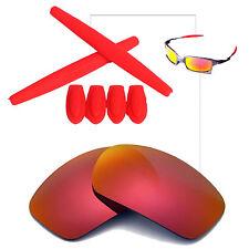 Walleva Fired Red FR Polarized lenses w Earsocks T-Shocks for Oakley X-Squared