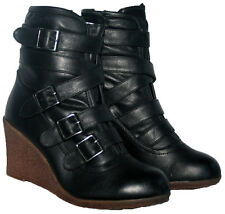 "LADIES BLACK 3"" WEDGE HEEL ANKLE BOOT WITH STRAP TRIM AND SIDE ZIP IN SIZE 7"