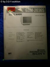 Sony Service Manual GDM 2036S Color Graphic Display (#4663)