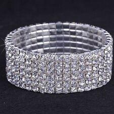 Silver Crystal Stretch Cuff Bridal Prom Bracelet 6 Rows UK Shop