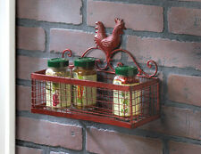 COUNTRY KITCHEN RED ROOSTER SINGLE WALL HANGING STORAGE RACK BASKET~10015877