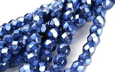 100 PERWINKLE SPARKLE FACETED GLASS BEADS 4MM