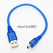 Blue Short USB 2.0 A Male to Mini 5 Pin B Data Charging Cable Cord Adapter