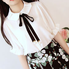 Japanese Sweet Dolly Lolita Cute Bowknot Shirt Mori Girl Blouse White Tops #2-KE