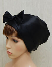 Black satin headscarf, silky bonnet, women head scarf, head wrap, head covering