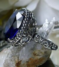 7ct Oval Cut Blue Sapphire* Sterling Silver 925 Art Nouveau Filigree Ring size 5