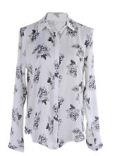 Anna-Kaci S/M Fit White with Gray Scale All Over Soft Elegant Rose Pattern Top